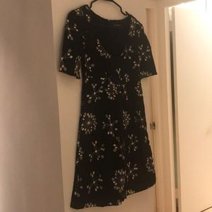 French Connection Black & Cream Patterned Dress